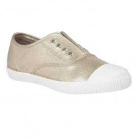 Nassor Gold Metallic Textile Lace-Up Trainers