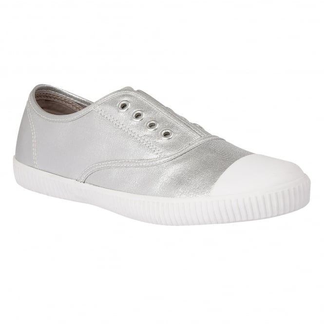 Lotus Nassor Silver Metallic Textile Lace-Up Trainers