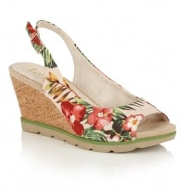 Nora Beige Floral Textile Wedge Sling-Back Sandals