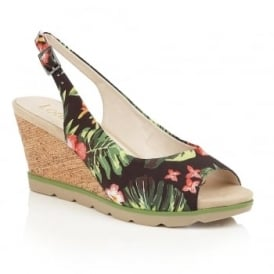 Nora Black Floral Textile Wedge Sling-Back Sandals