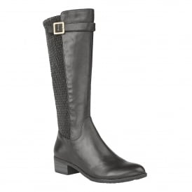 Nuttall Black Leather Knee-High Boots