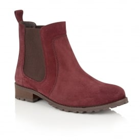 Nydia Pomegranate Suede Ankle Boots