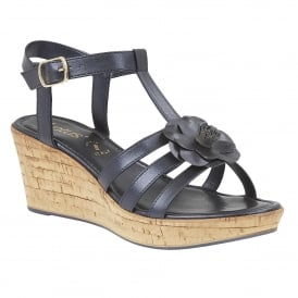Ottila Navy Pearlised Wedge Sandals