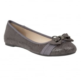 Peaky Grey Floral Print Ballerina Shoes