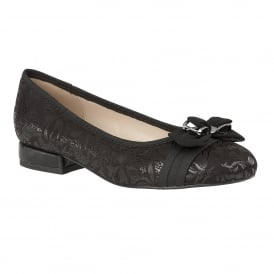 Peppery Black Floral Print Ballerina Shoes