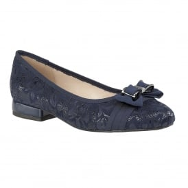 Peppery Navy Floral Print Ballerina Shoes