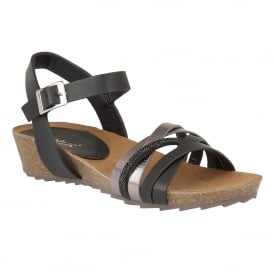 Pika Black & Pewter Open-Toe Sandals