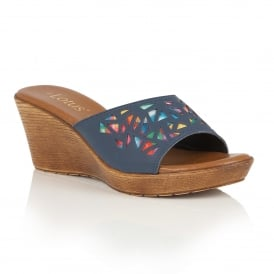 Poppsy Navy Multi Wedge Sandals