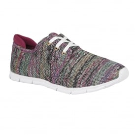 Portelli Pink-Multi Stripe Textile Lace-Up Trainers