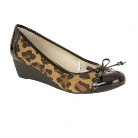 Quick Black Shiny & Leopard Print Casual Shoes