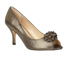 Quill Gold Open-Toe Court Shoes