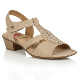 Cynthia Beige Matt Open-Toe Sandals