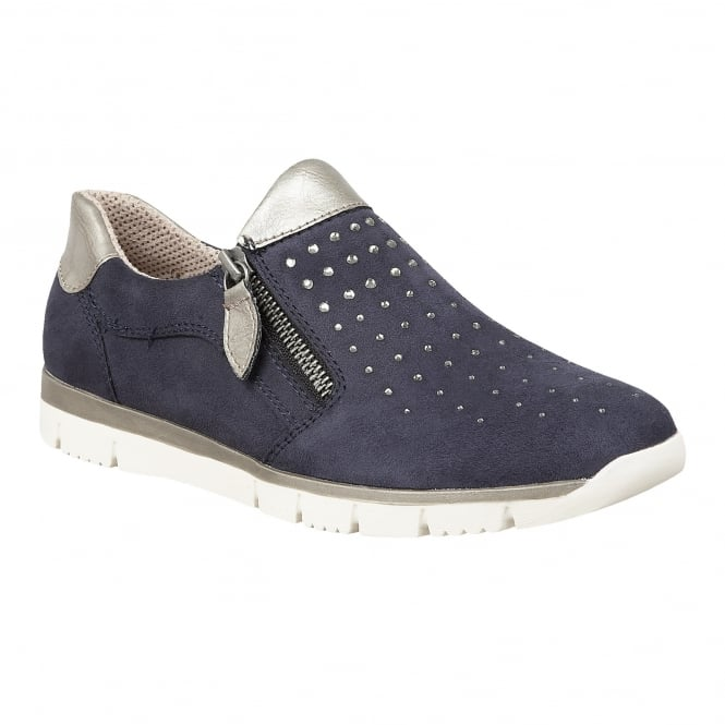 Lotus Relife Ferruccio Navy Microfibre & Diamante Zip-Up Shoes