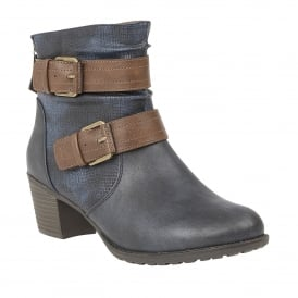 Glinda Navy & Tan Heeled Ankle Boots