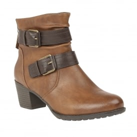 Glinda Tan & Brown Heeled Ankle Boots