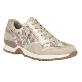 Golda Beige Multi Lace-Up Trainers