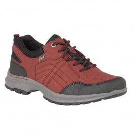 Ivaria Red & Black Matt Lace-Up Trainers