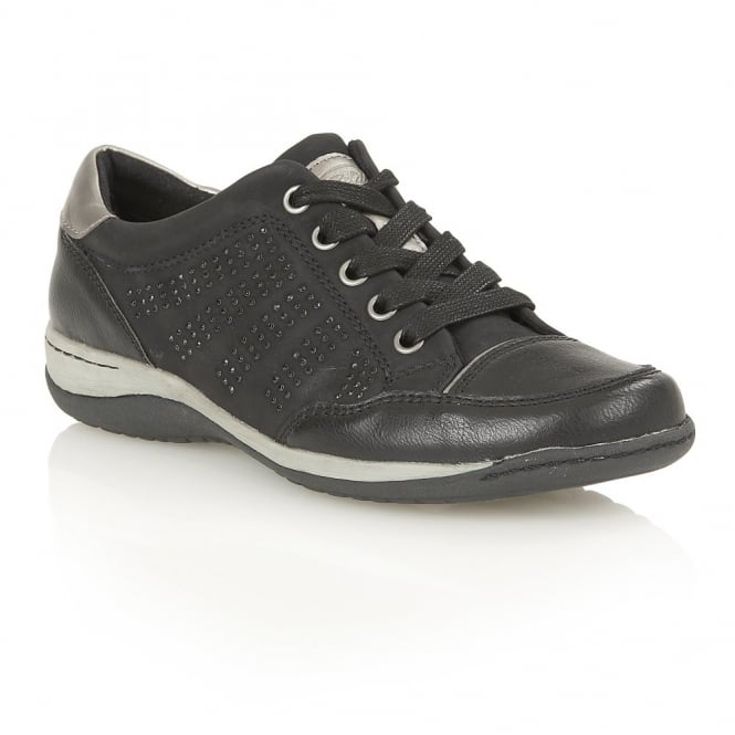 Lotus Relife Jayna Black Matt Lace-Up Faux-Leather Trainers