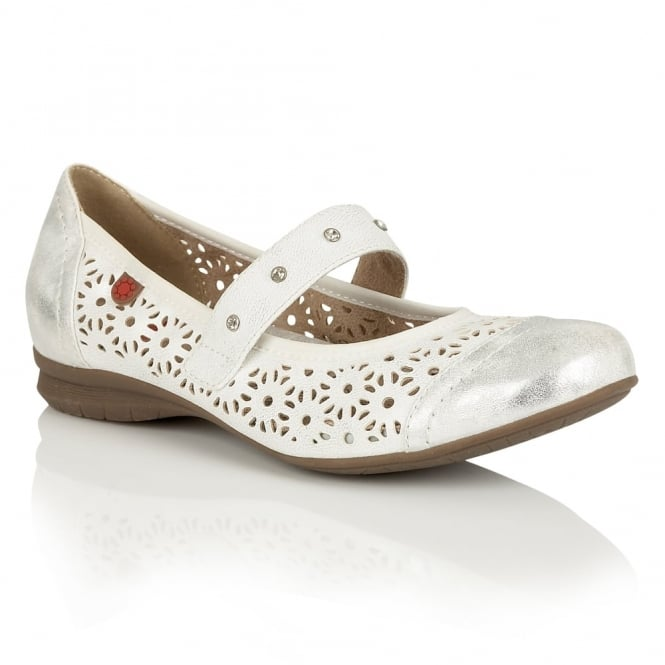 Lotus Relife Klaudia White Lazer-Cut Leather-Lined Shoes