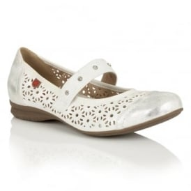 Klaudia White Lazer-Cut Leather-Lined Shoes