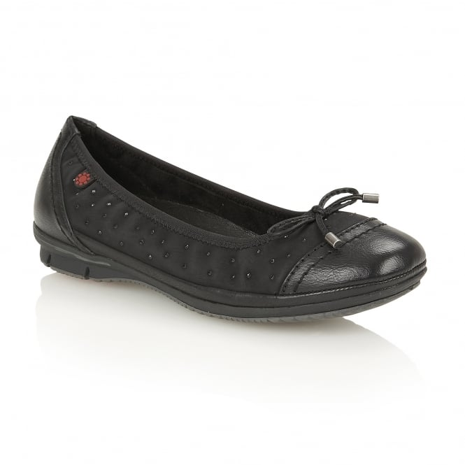 Lotus Relife Lona Black Matt Faux-Leather Ballerina Shoes