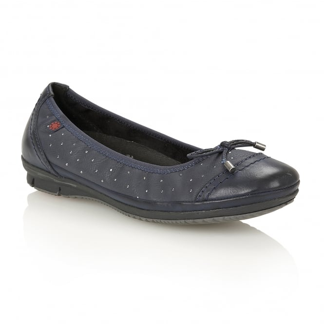 Lotus Relife Lona Navy Matt Faux-Leather Ballerina Shoes