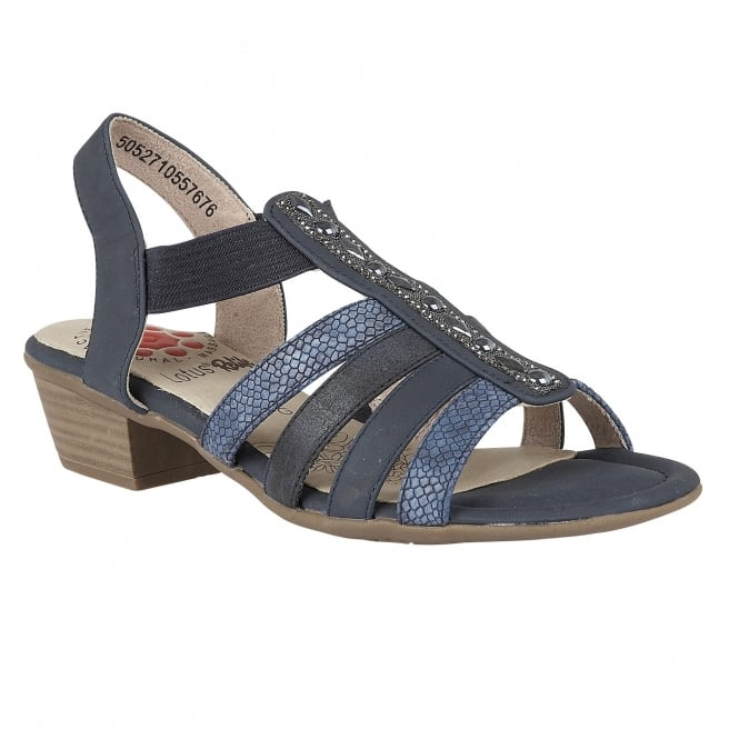 Lotus Relife Magali Navy Multi Open-Toe Sandals