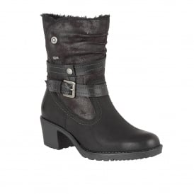 Mallory Black Matt & Microfibre Calf-High Boots