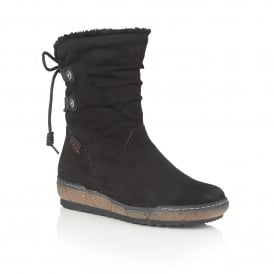Modane Black Microfibre Calf-High Boots