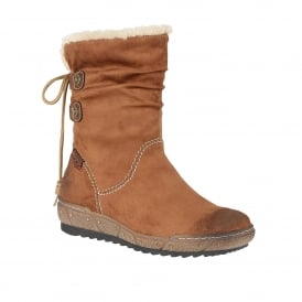 Modane Tan Microfibre Calf-High Boots