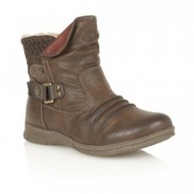 Namora Brown Matt Faux-Leather Ankle Boots