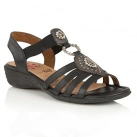 Philomena Black Matt Wedge Sandals