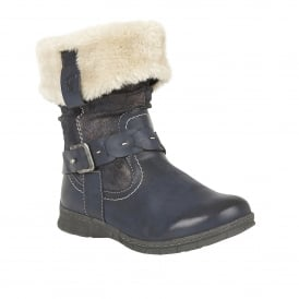 Roxana Blue Faux-Fur Ankle Boots