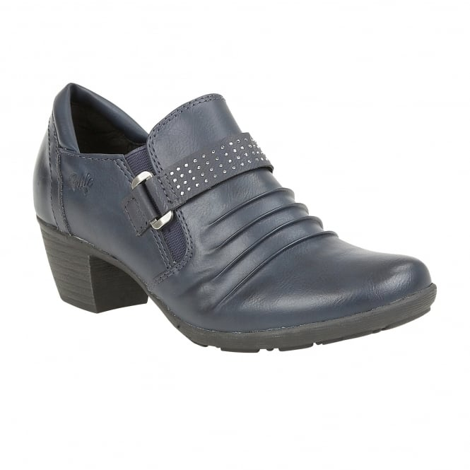 Lotus Relife Shannyn Navy Faux-Leather Heeled Shoes