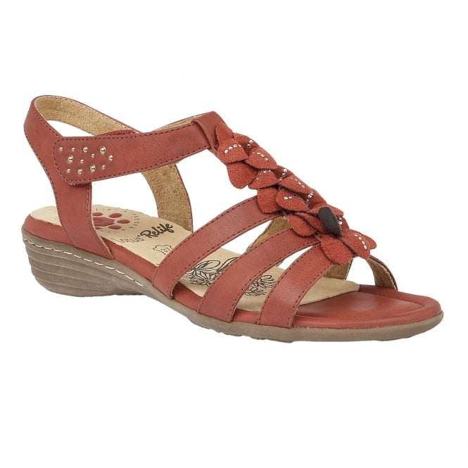 Lotus Relife Sonal Red Matt Microfibre Wedge Sandals