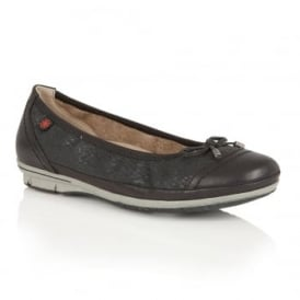 Tally Black Print Ballet Pumps
