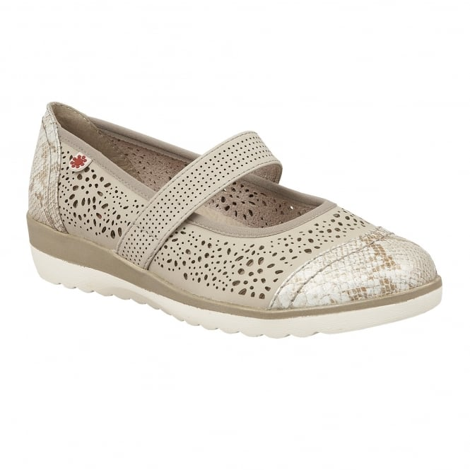 Lotus Relife Timour Beige & Snake Laser-Cut Mary-Jane Shoes