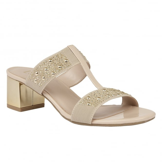 Lotus Rosana Beige Shiny & Elastic Block-Heel Sandals