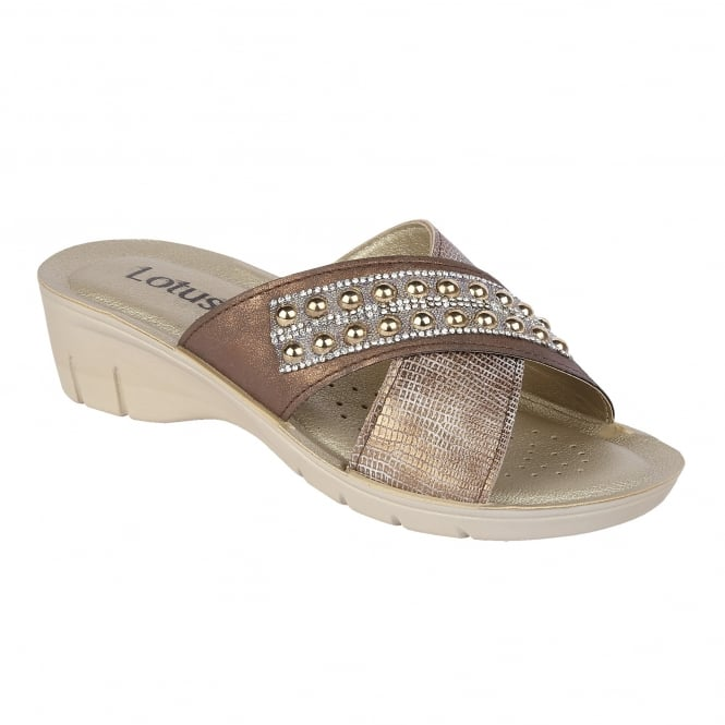 Lotus Sadali Bronze & Diamante Mule Wedge Sandals
