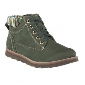 Sequoia Green Microfibre Ankle Boots