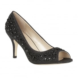Serenity Black & Diamante Peep-Toe Court Shoes