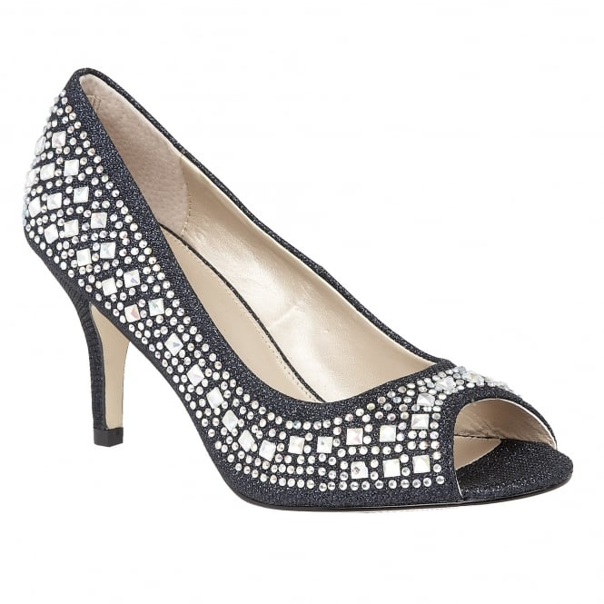 Lotus Serenity Navy & Diamante Peep-Toe Court Shoes