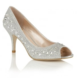 Serenity Silver & Diamante Peep-Toe Court Shoes