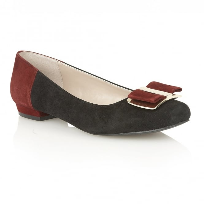 Lotus Sessile Black-Multi Suede Round-Toe Shoes