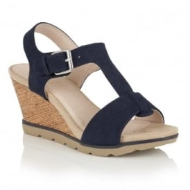 Shaliene Navy Snake Print Wedge Sandals