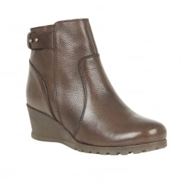 Shard Dark Brown Leather Wedge Ankle Boots