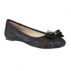 Shayna Black & Navy Glitter Ballerina Shoes
