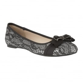 Shayna Black & Pewter Glitter Ballerina Shoes