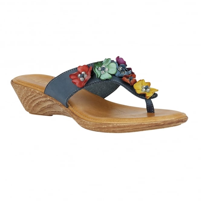 Lotus Sicily Navy & Multi-Coloured Toe-Post Sandals