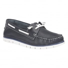 Silverio Navy Leather Slip-On Shoes